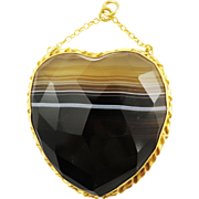 HEAVENLY XL Faceted Banded Agate/Gilt Heart Pendant, c.1880!