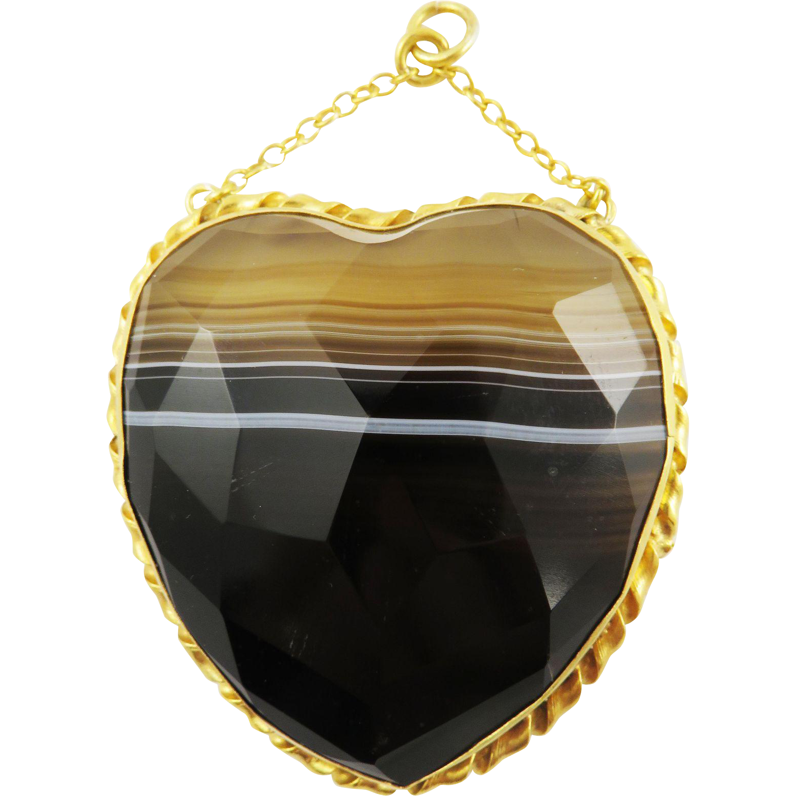 ULTIMATE XL Faceted Banded Agate/Gilt Heart Pendant, c.1880!