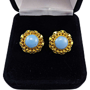 ENCHANTING Regency-Era Turquoise Paste/18k Cannetille Earrings, c.1815!