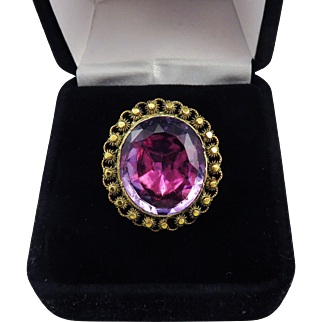EXCEPTIONAL 11.9 Ct. Georgian Amethyst/Cannetille 18k Ring, c.1815!