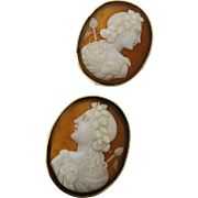 BEST QUALITY Large Victorian Shell Cameo Earrings of Bacchus in 14k Gold, c.1860!