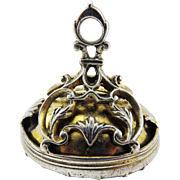 MUSEUM-QUALITY XL George II Sterling/Silver Gilt Fob Seal w/Rock Crystal Intaglio of a Ship, 16.34 Grams, c.1750!