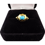 MUSEUM-WORTHY Medieval Turquoise/22kt Amuletic Ring, c.1325 AD!