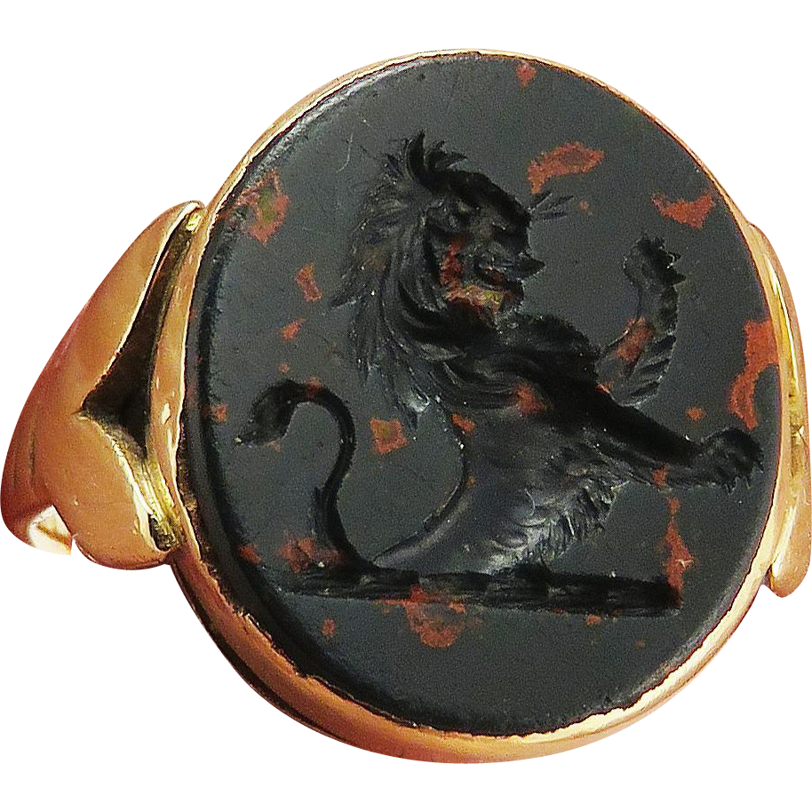 SO HANDSOME Unisex Bloodstone Armorial Signet/9k Ring, Lion Rampant, c.1890!