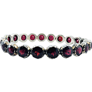 "FABULOUS French Victorian 25 Ct. TW Garnet/Sterling ""Eternity"" Bracelet, c.1865!"