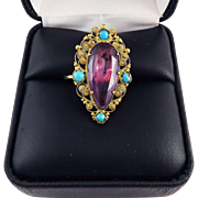 SO REGAL 8.72 Ct. Georgian Amethyst/Turquoise/15k Cannetille Ring, c.1815!