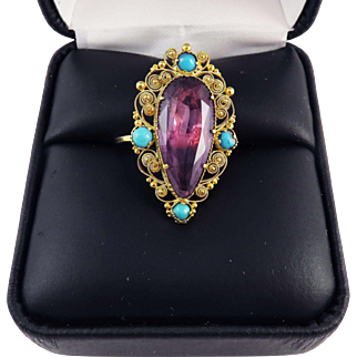 SO REGAL 8.72 Ct. Georgian Amethyst/Persian Turquoise/15k Cannetille Ring, c.1815!