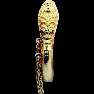 SO MYSTERIOUS Silver Gilt/Garnet Serpent Bracelet w/Hidden Compartment, c.1835!
