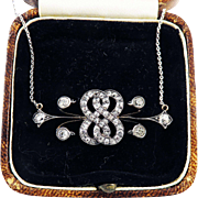 "SO ELEGANT 18"" Early Nouveau 1.6 Ct. TW OMC Diamond/Sterling/14k Lover's Knot Necklace, c.1890!"