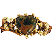 PRISTINE Late Georgian Scottish Agate/15k Heart and Thistle Motif Ring, c.1820!