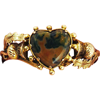 PRISTINE Late Georgian Scottish Agate/15k Heart and Thistle Motif Ring, c.1820!