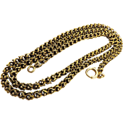 "MUST-HAVE 20"" Extra-Fancy Double Link Victorian 14k Necklace, 16.02 Grams, c.1875!"