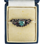 CUNNING Austrian .49 Ct. TW Emerald Heart/Ruby/Silver Lover's Ring, Full Hallmarks, c.1875!