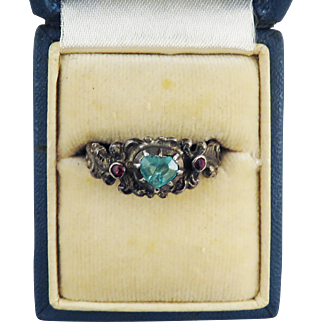 CUNNING Austrian .49 Ct. TW Emerald Heart/Ruby/Silver Lover's Ring, Full Hallmarks, c.1875!