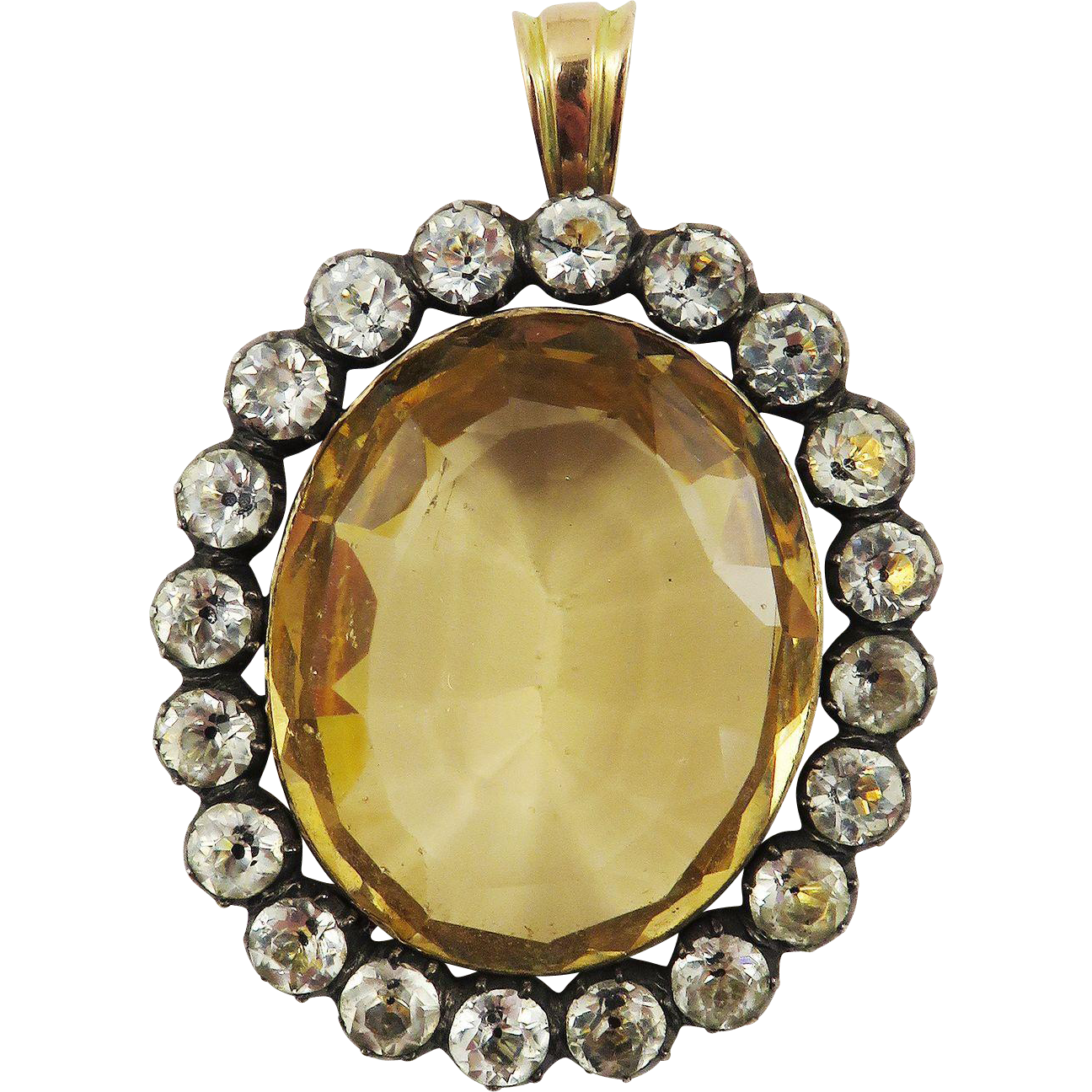 FABULOUS Georgian 24.45 Ct. Citrine/Paste/Sterling/12k Pendant, c.1810!