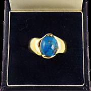 CLASSIC Unisex Arts & Crafts Turquoise/18k Gold Ring, 6.69 Grams, c.1910!