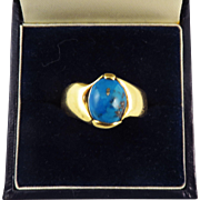 CLASSIC Unisex Arts & Crafts Turquoise/18k Gold Ring, 6.69 Grams, c.1910!