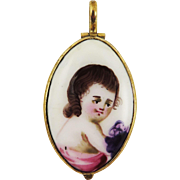 SO RARE Georgian Sentimental Bilston Enamel Locket w/Portrait of a Child, c.1785!