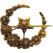 EXQUISITE Georgian 18k Cannetille Moon and Star Brooch, c.1815!
