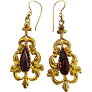 GORGEOUS Late Georgian Rhodolite Garnet/Pinchbeck/14k Earrings, c.1835!