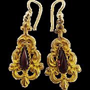 GORGEOUS Late Georgian Rhodolite Garnet/Pinchbeck/14k Earrings, c.1835!