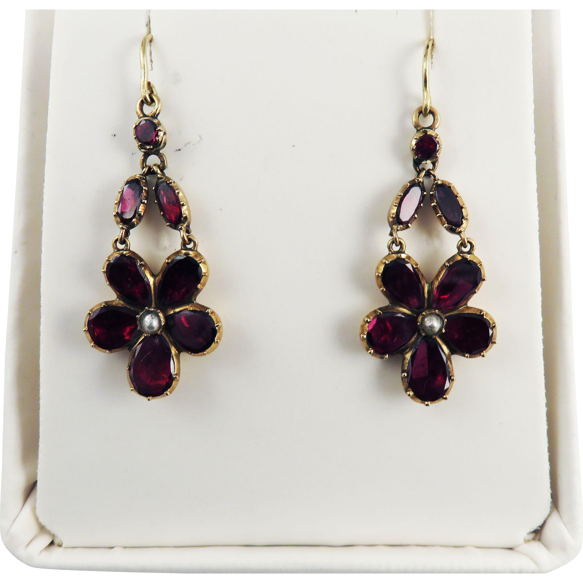 "AMAZING 1 3/4"" Georgian Garnet/Pearl/9k Pansy-Motif Drop Earrings, c.1810!"