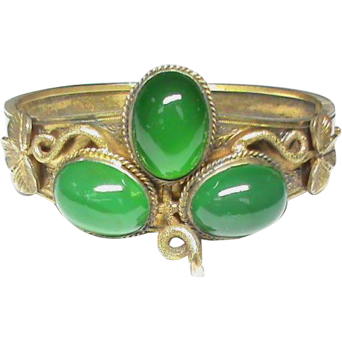 LUCK O' THE IRISH Victorian Green Chalcedony/Silver Gilt Bracelet, c.1875!