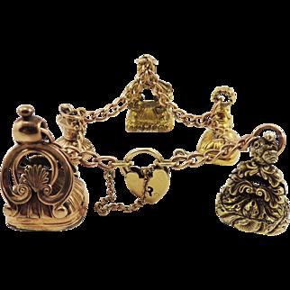 ONE-OF-A-KIND Edwardian 9k Heart Padlock Bracelet w/Five Georgian Hardstone/Pinchbeck/9k/15k Fob Seals, c.1800/1910!