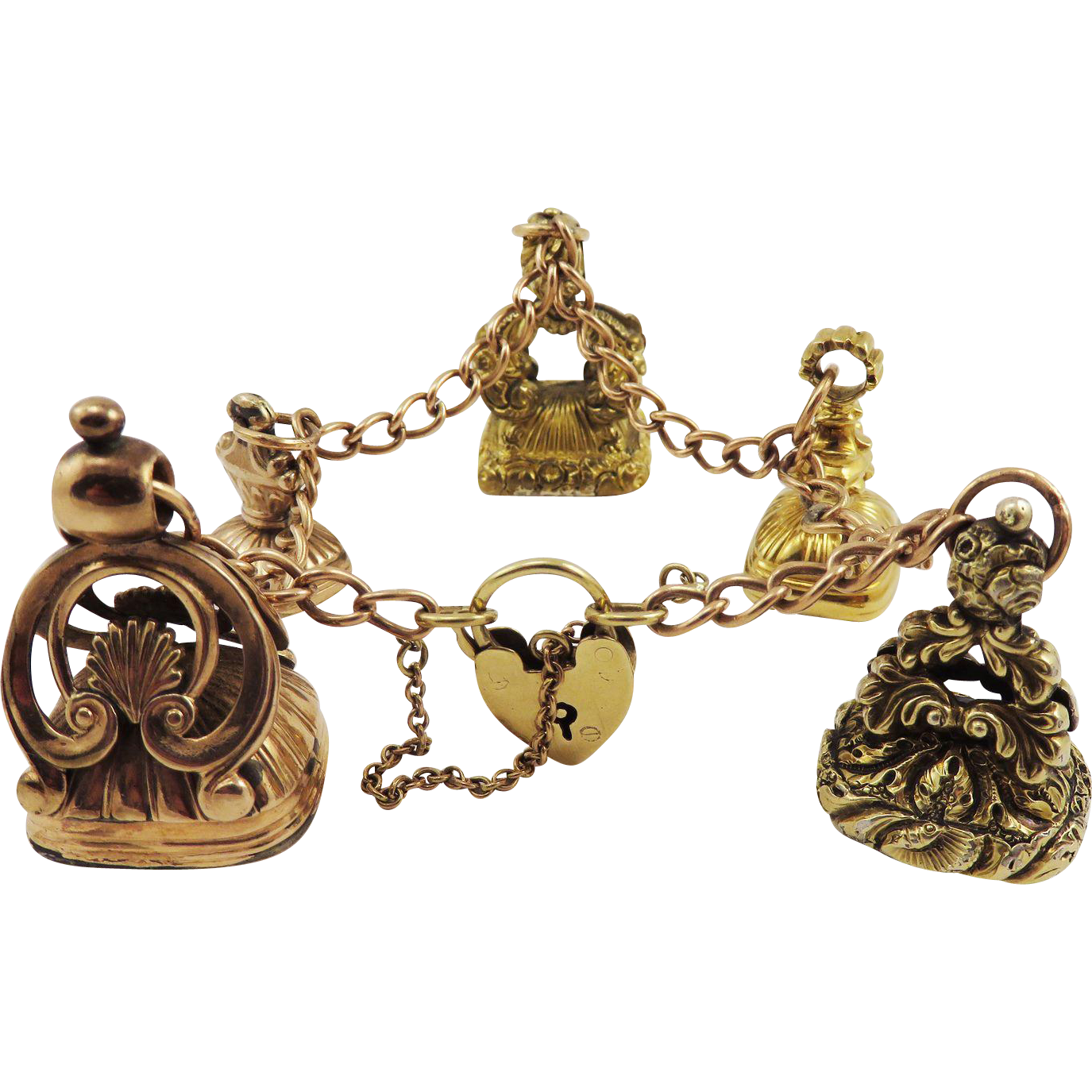 ONE-OF-A-KIND Edwardian 9k Heart Padlock Bracelet w/Five Georgian Hardstone/Pinchbeck/9k/15k Fob Seals, c.1800/1910!