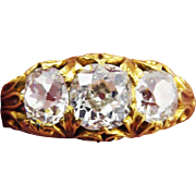MASTERPIECE 2.06 Ct TW. Victorian OMC Diamond/22k Trilogy Ring w/$11,900.00 GIA Appraisal, c.1890!