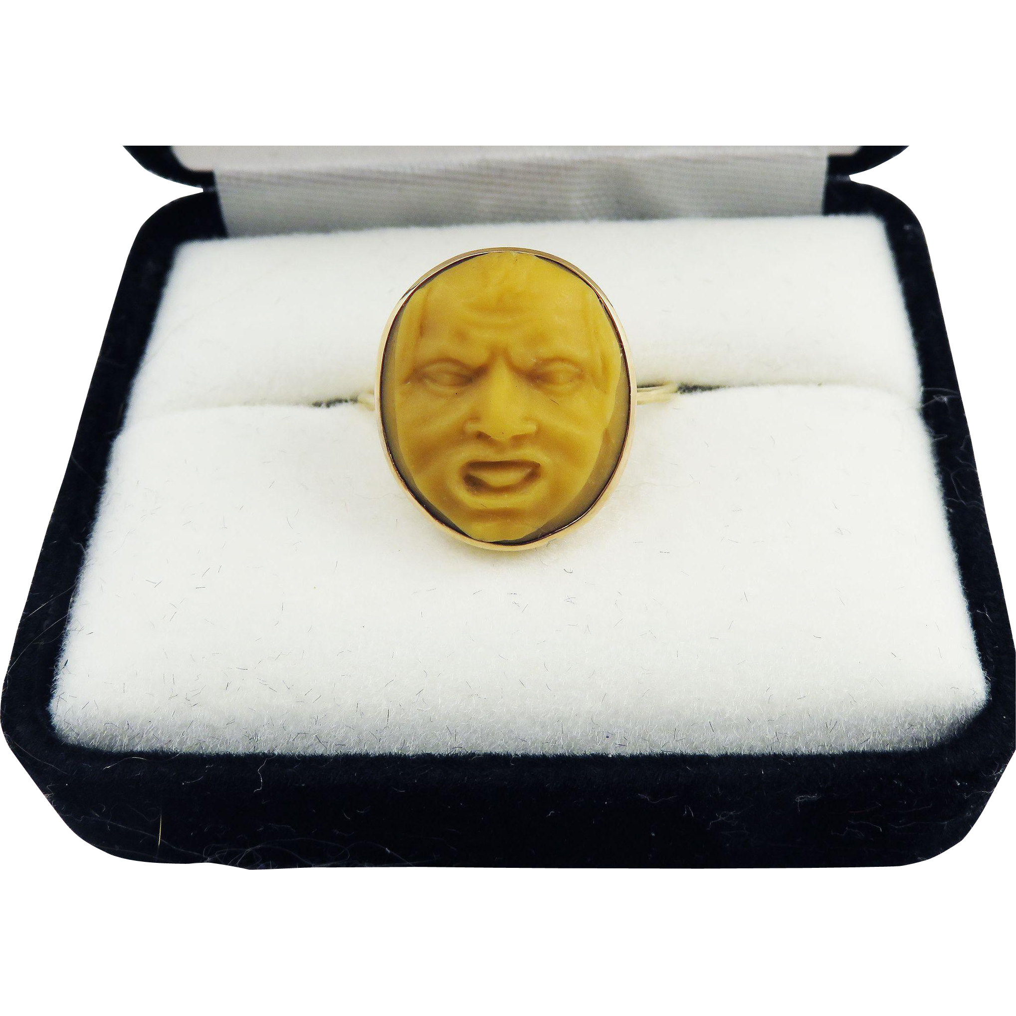 MUSEUM-QUALITY Unisex Georgian Neoclassical Hardstone Mask Cameo Set in 15k Ring, c.1770!