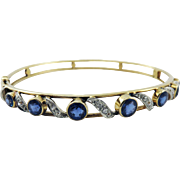 SO DREAMY Belle Epoque 2.45 Ct. TW Untreated Sapphire/Diamond/Platinum/15k Bracelet, c.1895!