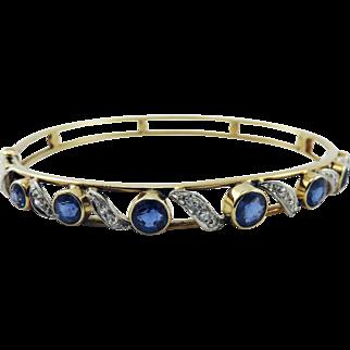 SO DREAMY Belle Epoque 2.45 Ct. TW Untreated Sapphire/Diamond/Platinum/15k Bracelet, c.1895!