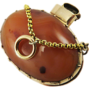 SWEETEST Georgian Dendretic Agate/Carnelian/15k Vinaigrette Pendant on 22kt Chain, c.1800!