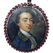 WONDERFUL Oil on Copper Portrait Miniature of a Handsome Gentleman Set in Amethyst & Sterling Pendant Frame, c.1765!