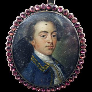 WONDERFUL Oil on Copper Portrait Miniature of a Handsome Gentleman Set in Amethyst & Sterling Pendant Frame, c.1765!