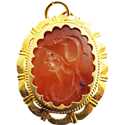 MASTERPIECE XL Ancient Classical Greek Carnelian Intaglio of Athena Set in Georgian 22k Pendant, c.300 BCE/1800 AD!