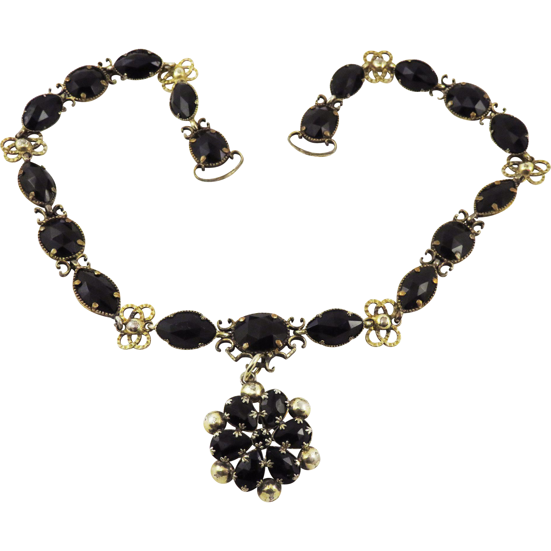 OUTSTANDING Mid-Georgian French Jet/Silver Gilt Riviere Necklace w/Drop Pendant, c.1765!