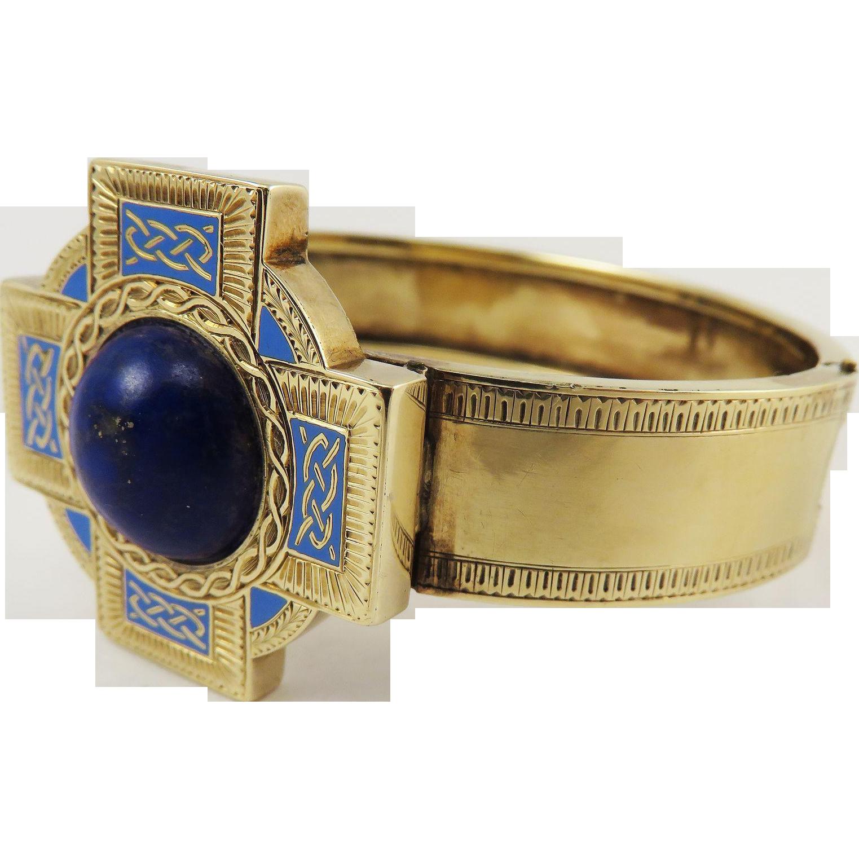 JUST PRISTINE High-Victorian Celtic Motif Lapis Lazuli/Enamel/15k Bracelet, c.1865!