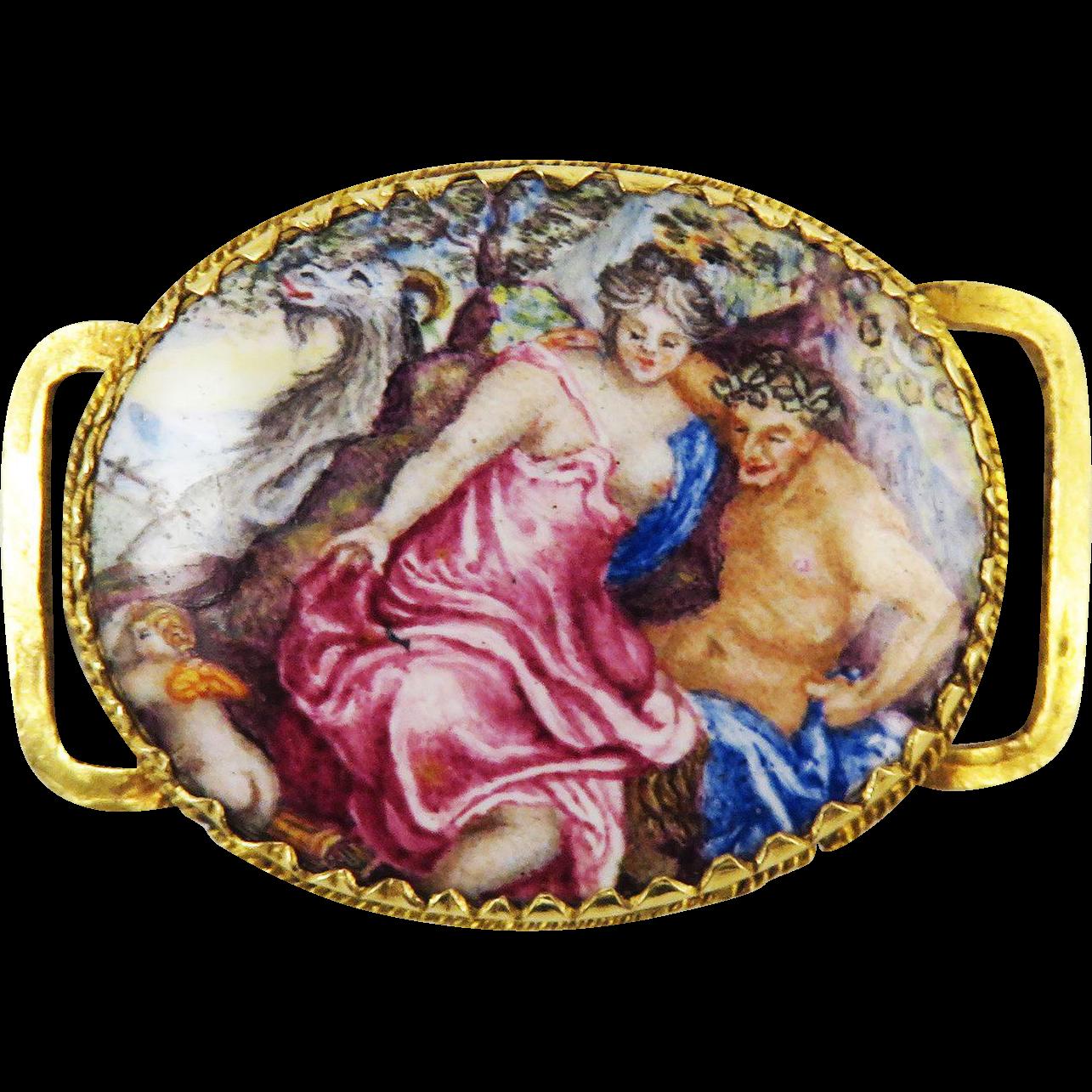 MAGNIFICENT Stuart Enamel/22k Slide, Artemis and Satyr w/Eros and Goat, c.1670!