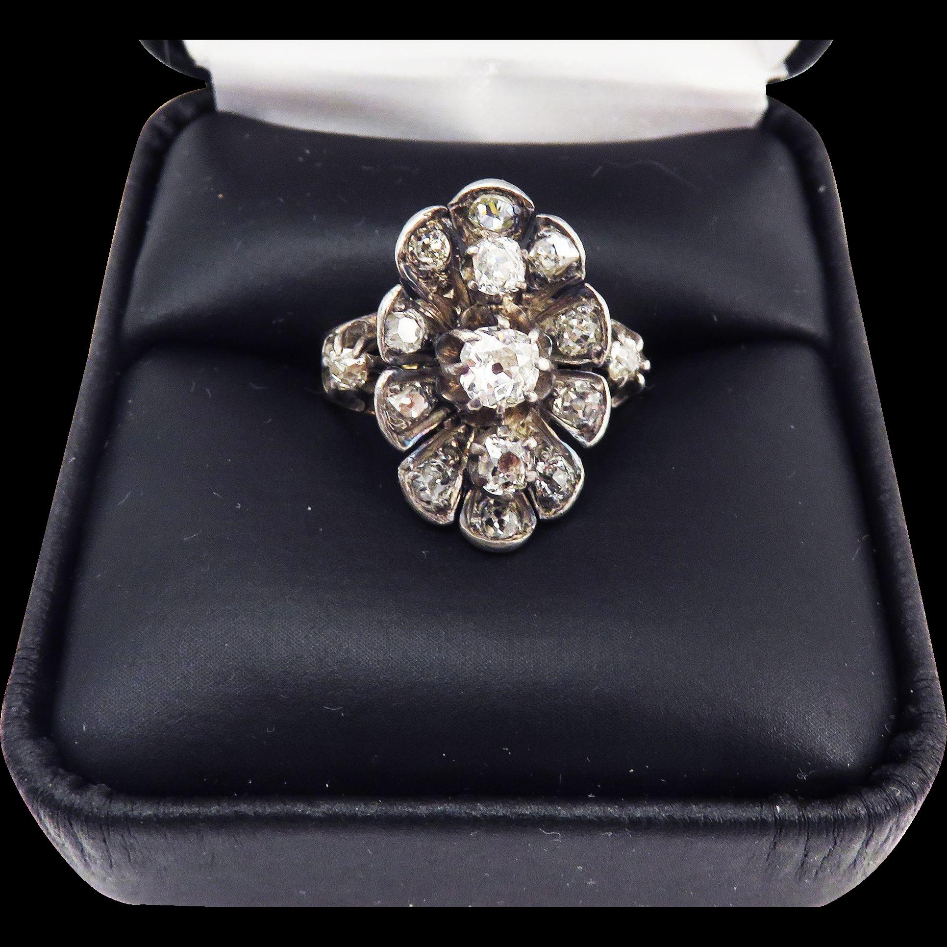 UNIQUELY Gorgeous 1.02 Ct. TW Victorian OMC Diamond/Silver/9k/18k Ring, c.1865!