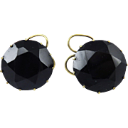 """AMAZING """"Queen Anne"""" Faceted Jet/Silver Gilt """"Snap"""" Earrings, c.1745!"""