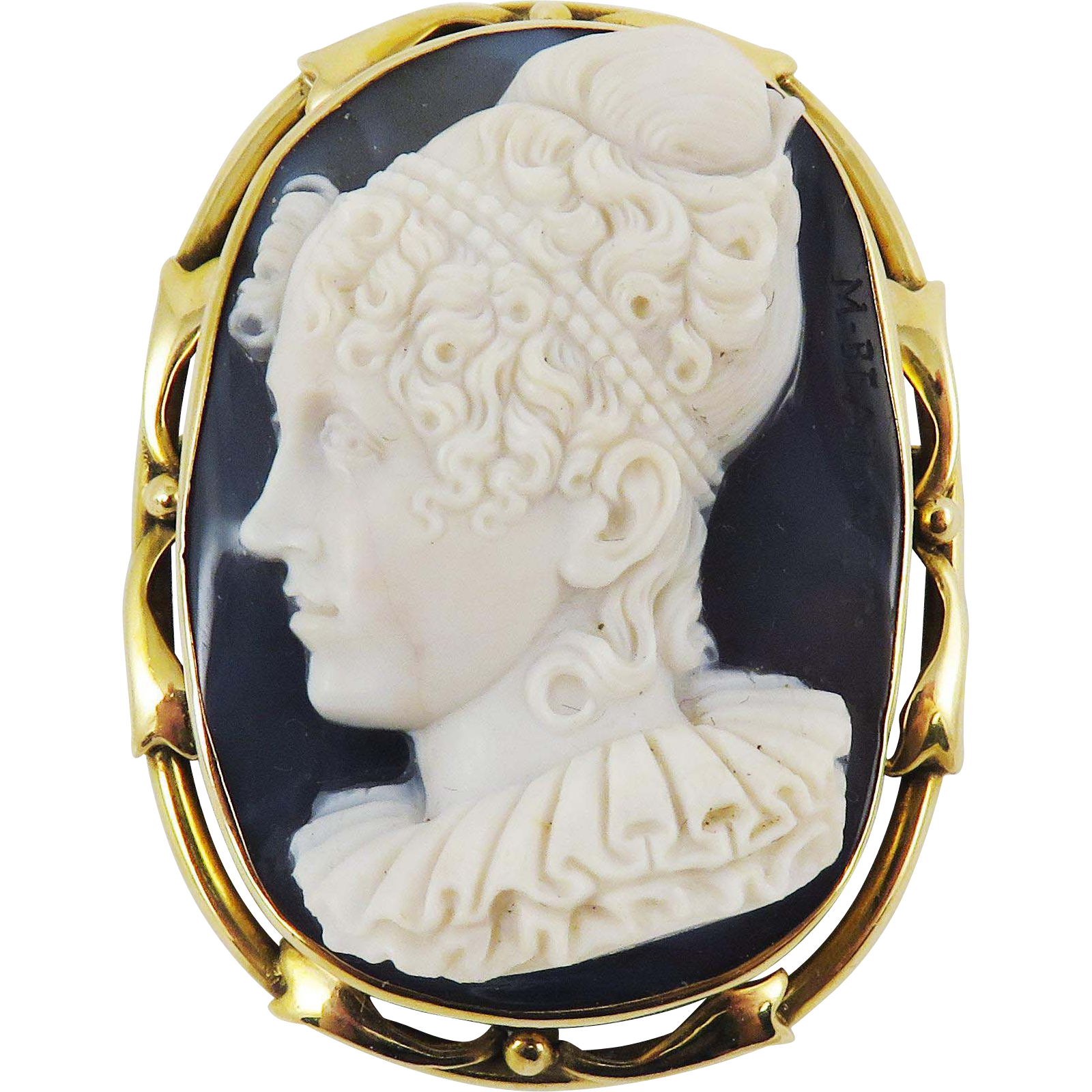 MASTERPIECE Onyx Portrait Cameo of a Lady Signed by Vittoria Pozzi Set in 14k Pendant/Brooch, c.1840!