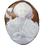 MAGNIFICENT XL Victorian Italian Cameo of the Persian Sibyl in 14k Pendant/Brooch Frame, c.1860!