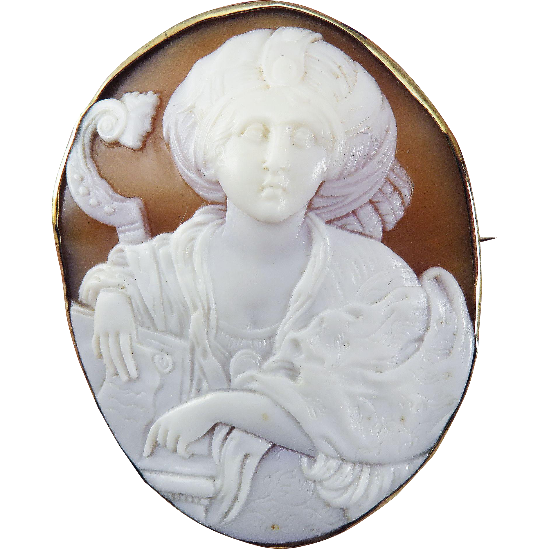 MAGNIFICENT XL Victorian Italian Cameo of the Hebrew Sibyl in 14k Pendant/Brooch Frame, c.1860!