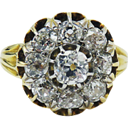 TOP QUALITY Classic 1.57 Ct. TW Victorian OMC Diamond Cluster/18k Ring, c.1885!