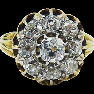 TOP QUALITY Classic 1.57 Ct. TW Victorian OMC Diamond Cluster/18k Ring, c.1885!