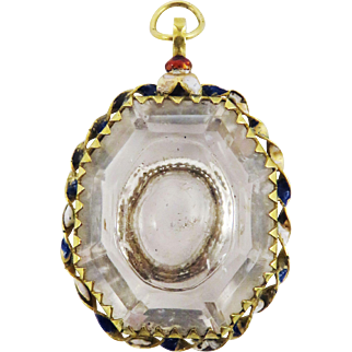 AMAZING RENAISSANCE Enamelled 22K Gold/Rock Crystal Reliquary Pendant, c.1580!