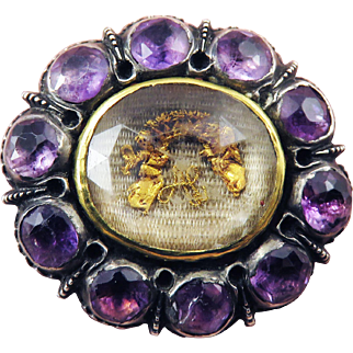 EXEMPLARY Large Amethyst/Sterling/22k Stuart Crystal Slide: Angels, Crown and Cypher, c.1680!