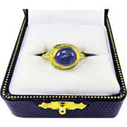 MASTERPIECE Medieval English 4.87 Ct. Sapphire/22k/Enamel Ring, c.1490!